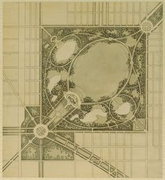 Burnham's plan for a proposed park at Western Boulevard and Garfield Boulevard in 1909, Chicago