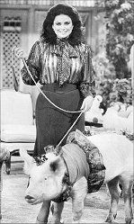 Delta Burke with her pig Noel from Designing Women