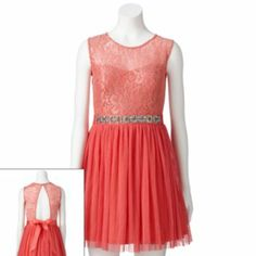 Lily Rose Lace Lurex Beaded Dress - Juniors