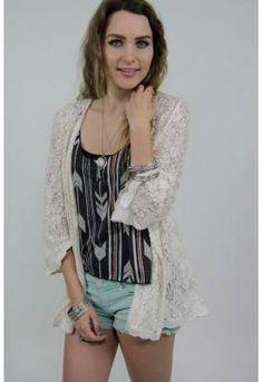 "Back in stock! Studio 1220's lovable lace ""Emilia"" kimono top. Studio 1220, SoCal Boho Chic and Beyond. www.studio1220.com"