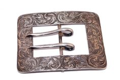 Victorian Floral Pattern Sterling Silver Belt Buckle