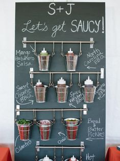 Add-your-own sauce bar at a wedding reception