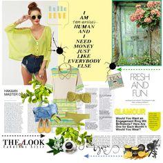 Hey Baby What's that Sound?  #neon #fashion #shoes #yellow #balletflats #outfits #bikini