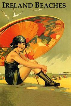 Vintage travel beach poster Ireland . Art Nouveau #affiche #essenzadiriviera.com