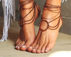 "Women Barefoot Sandal ""Ancient Rome"" from ccfashionstr on Etsy. Saved to Barefoot, foot jewelry sandals, wedding sandals. Ankle Jewelry, Ankle Bracelets, Body Jewelry, Jewellery, Feet Jewelry, Hand Jewelry, Women's Jewelry, Casual Chic, Boho Chic"