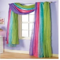 """For a young girls room, this window scarf adds character to this room. When you walk in and see all of the colors it screams """"FUN"""". - Home Fashions Kids Bedroom Boys, Boy Room, Kids Room, Teen Bedroom, Curtains For Girls Bedroom, Girls Bedroom Decorating, Girls Bedroom Colors, Unicorn Rooms, Unicorn Bedroom"""