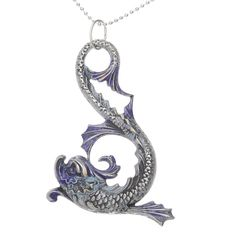This nickel and lead-free item is made from solid brass that has been plated in genuine Silver.  Asian-style dolphin with an art nouveau feel.Layer with charms and pendants to create a unique piece!Quantity: You will receive 1 Pendant. Measurements: 44mm Long, 31mm Wide, 3.5mm Thick.