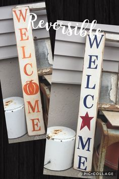 I love reversible decor...especially signs. They are too big to put in a tote so why not make the most of them and and have them work double duty. This gorgeous primitive sign will take you from Memorial Day all the way through Thanksgiving with a simple turn of the sign. Welcome your guests for Memorial Day, 4th of July, and Labor Day with this patriotic WELCOME. The O has been replaced with a primitive star and painted in red, letters painted in navy blue. Reverse side is WELCOME, O…