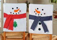 Snowman chair back covers Christmas Sewing, Christmas Art, Christmas Projects, Christmas Holidays, Christmas Ornaments, Snowman Crafts, Holiday Crafts, Holiday Fun, Chair Back Covers