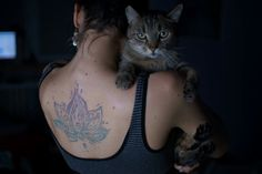 Cat and tattoo  Lotus flower tattoo
