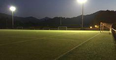Los campos deportivos de Lutxana y San Vicente llevan un mes sin iluminación por robo de cables