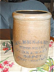Antique Jas Benjamin stoneware crock with cobalt blue lettering. For sale at More Than McCoy at www.morethanmccoy.com