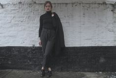See more photos and read about this look on my BLOG: http://www.alldeathbydiamonds.blogspot.co.uk @ellyfss (Instagram and Twitter)  #zara #newlook #office #michaelkors #tkmaxx #coat #outerwear #trousers #ootd #winter #womenswear #rollneck #black #grey #navy #shoes #brogues #heels #style #fashion #androgyny