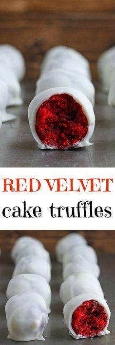Red Velvet Cake Truffles. Fun dessert for a red themed 30th birthday party!