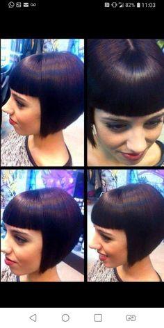 Stacked Bob Hairstyles, Short Bob Haircuts, Hairstyles With Bangs, Braided Hairstyles, Bob Haircut With Bangs, Short Hair With Bangs, Short Hair Cuts, Short Hair Styles, Hair Bangs