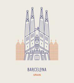 Sagrada Família church in Barcelona, Spain. World Landmarks Illustration Ligne, Travel Illustration, Building Illustration, Mexico Logo, Arte Art Deco, Barcelona Tattoo, Minimalist Icons, City Icon, City Logo
