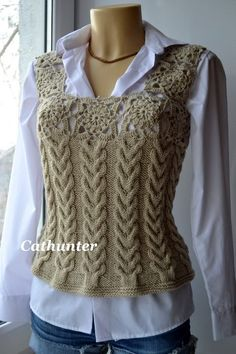 """diy_crafts-vest c + cr """"crochet and knit vest - front"""", """"Knitted cable body with a crocheted upper detailed such a geni Gilet Crochet, Knit Crochet, Knooking, Tricot D'art, Knitting Patterns, Crochet Patterns, Vest Pattern, Knit Vest, Knit Fashion"""