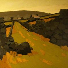 Welsh Landscape  by Kyffin Williams Cardiff University  Oil on canvas, 119.5 x 119.5 cm