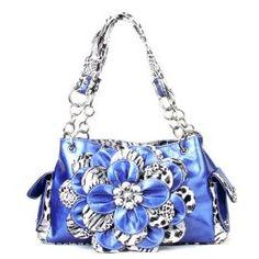 Leopard Blue Flower Rhinestone Handbag