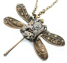 Time Flies - SteamPunk Clockwork Dragonfly Jewelry Art Necklace by Vintage Filigree Jewels