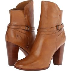 Frye Laurie Zip Short (Camel Smooth Polished Veg) Cowboy Boots ($278) ❤ liked on Polyvore featuring shoes, boots, ankle booties, ankle boots, brown, brown cowboy boots, brown leather booties, leather booties, brown cowgirl boots and high heel booties