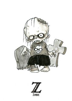 Tiny Creatures Alphabet on Behance Zombie Drawings, Alien Drawings, Halloween Drawings, Cartoon Drawings, Horror Cartoon, Cartoon Pics, Horror Art, Funny Horror, Kawaii Halloween