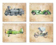 Vintage Transportation Decor Nursery Print Set Three Prints Car Airplane Train Engine World Map Boys Room Wall Art Our Home Pinterest