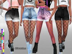 The Sims Resource: Fishnet Tights Accessory for Jeans and Shorts by Pinkzombiecupcakes • Sims 4 Downloads