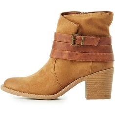 Qupid Wrapped Buckle Ankle Booties ($39) ❤ liked on Polyvore featuring shoes, boots, ankle booties, camel, camel booties, buckle bootie, buckle booties, faux-fur boots and ankle boots