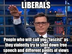 """Liberals are people who will call you """"fascist"""" as they violently try to shut down free speech and different points of view. Liberal Hypocrisy, Liberal Logic, Political Corruption, Pro Trump, Truth Hurts, It Hurts, Political Quotes, Conservative Politics, Stupid Sayings"""