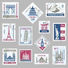 Buy Postage Stamps Set by macrovector on GraphicRiver. Postage stamps set with world famous landmarks isolated vector illustration. Editable EPS and Render in JPG format Buy Postage Stamps, Postage Stamp Design, Printable Stickers, Cute Stickers, Free Printable, Tumblr Stickers, Vintage Typography, Vintage Logos, Thinking Day
