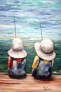 """""""SITTING ON THE DOCK OF THE BAY"""" by Claude Marshall: Original painting by Claude Marshall has been sold.Couple of kids fishing on the dock of the bay with their large white hats."""