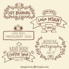 Handmade logos retro Vetor grátis