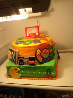 80's Inspired 30th birthday Cake for my Man's birthday I made all of it out of foundant.