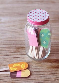Popsicle memory card game...so cute for the summertime!  A jar is the perfect container for making this a grab-and-go game--unlike boxed games where the lid can just fall off.