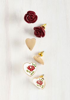 The Eros of Your Ways Earring Set. As you consider your year's loveliest looks, you rediscover this darling set of romantic stud earrings and fall in love all over again. #red #modcloth