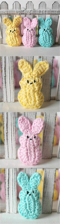 Crochet Easter Bunnies - How cute are those! Quick #crochet project for Easter! #freecrochetpatterns