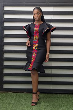 African woman dress black dress formal dress midi dress Made and shipped from Houston Texas. Other colors and fabric available Short African Dresses, African Inspired Fashion, Latest African Fashion Dresses, African Print Dresses, Ankara Dress Styles, African Print Fashion, Ankara Gowns, Dress Fashion, Africa Fashion