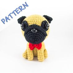 Pug with Bowtie Crochet Amigurumi Pattern - detailed instructions with lots of photos to teach you how to make your own pug