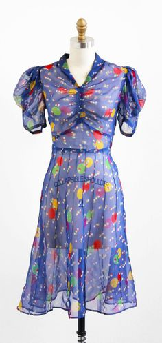 vintage 1930s sheer rainbow colored polkadot day dress.