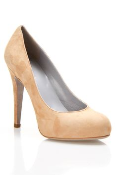 Sergio Rossi Rounded Toe High Suede Pumps In Natural