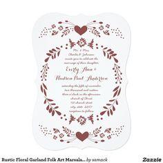 Rustic Floral Garland Folk Art Marsala Wedding 5x7 Paper Invitation Card Bohemian Wedding Theme, Bohemian Wedding Decorations, Floral Wedding Invitations, Custom Invitations, Invites, Floral Garland, Invitation Paper, Pattern Art, Wedding Cards