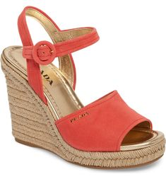 96acbad2cfe Prada Espadrille Wedge Sandal Alegria Shoes