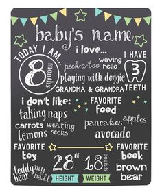 $21.99 marked down from $34! Black Stars Baby's Highlights Chalkboard #baby #announcement #personalized #chalkboard #zulilyfinds