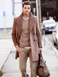 Men's Camel Overcoat, Tan Cable Sweater, White Longsleeve Shirt, Khaki Chinos, and Brown Canvas Holdall Look Fashion, Winter Fashion, Mens Fashion, Travel Fashion, Fashion Trends, Fashion Guide, Fashion Menswear, Fashion Bags, Fashion Backpack