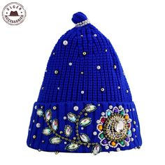 02da4426c01 Find More Skullies  amp  Beanies Information about New Ulgen Handmade  Flower Leaf Embellished Colorful Crystal