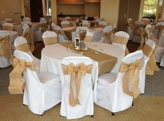 Would also need help pricing white seat covers and then seeing what the best route is for either finding ribbon to mock burlap or actual burlap for a seat cover. Rustic wedding with burlap chair sashes and burlap runners Burlap Chair Sashes, Burlap Runners, Chair Ties, Wedding Linens, Wedding Chairs, Wedding Table, White Seat Covers, Chair Cover Rentals, Used Wedding Dresses