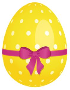 Yellow Dotted Easter Egg with Pink Bow PNG Clipart