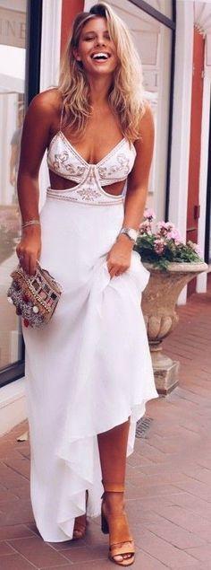 #summer #trending #style |White Maxi Sun Dress