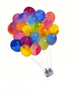 Balloons watercolor original children illustration.
